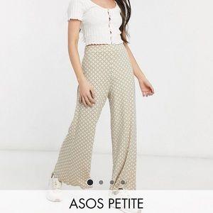 ASOS wide leg printed cream pants